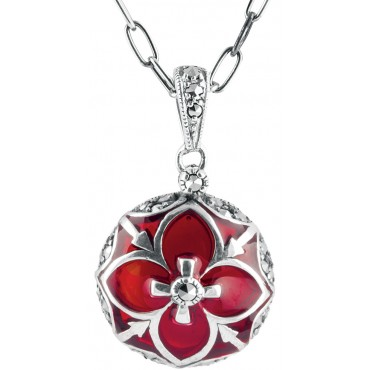 NK525   Red Enamel and Marcasite Necklace Sterling Silver Ari D Norman