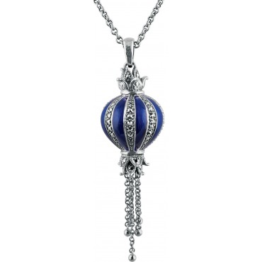 NK570   Blue Enamel and Marcasite Pendant on Chain Sterling Silver Ari D Norman