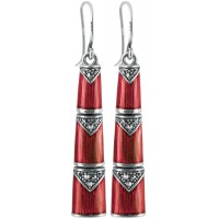 EA565   Red Enamel and Marcasite Bamboo Style Earrings Sterling Silver Ari D Norman