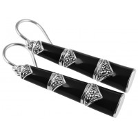 EA596   Black Enamel and Marcasite Bamboo Style Earrings Sterling Silver Ari D Norman
