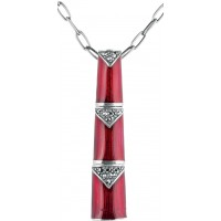 NK541   Red Enamel and Marcasite Chain Necklace Sterling Silver Ari D Norman