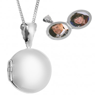 PT465   Plain Round Locket on Chain Sterling Silver Ari D Norman