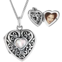 PT476   Mother of Pearl Set Filigree Heart Pendant on Chain Sterling Silver Ari D Norman