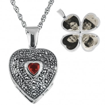 PT478   Marcasite and Garnet Four Part Heart Locket on Chain Sterling Silver Ari D Norman