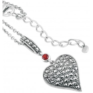 NK542   Marcasite Set Heart Shaped Necklace Sterling Silver Ari D Norman