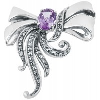 B337   Amethyst Victorian Style Bow Brooch Sterling Silver Ari D Norman