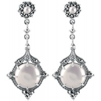EA591   Cultured Pearl and Marcasite Set Drop Earrings Sterling Silver Ari D Norman