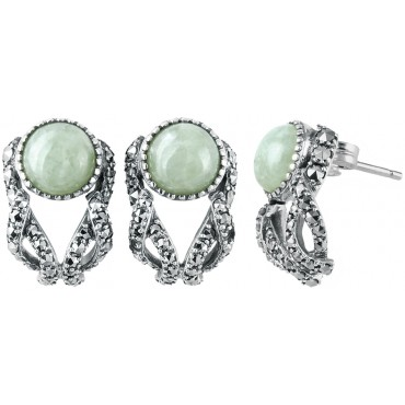 EA595   Jade and Marcasite Set Earrings Sterling Silver Ari D Norman