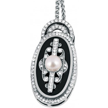 NK207   Black Enamel Pearl and Crystal Necklace Sterling Silver Ari D Norman