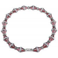 NK520   Elizabethan Style Necklace With Red Enamel, Opal and Marcasite Sterling Silver Ari D Norman