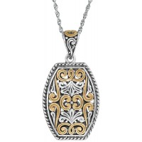 PT693   Gold Plated Antique Polish Filigree Pendant On Chain Sterling Silver Ari D Norman
