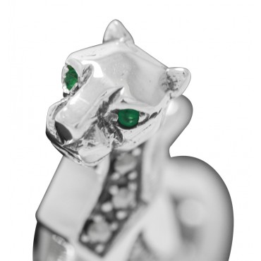 Sterling Silver Panther Brooch With Onyx Emerald Eyes and Natural Rock Mineral Crystal