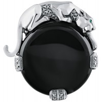 B361   Onyx Panther Brooch Sterling Silver Ari D Norman