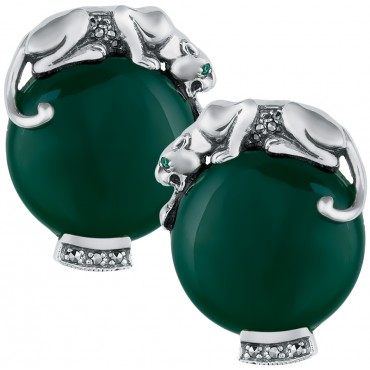 EA296   Green Agate Panther Earrings Sterling Silver Ari D Norman