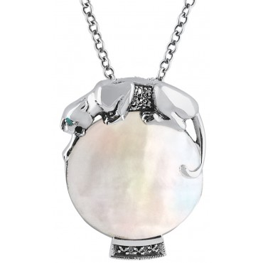 NK224   Mother of Pearl Panther Pendant on Chain Sterling Silver Ari D Norman