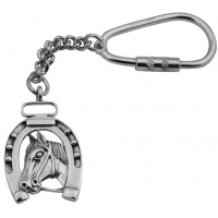 KPT404   Horseshoe and Head Key Ring Sterling Silver Ari D Norman