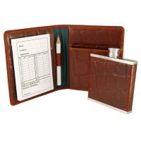 LTHR103 Croco Leather Golf Score Card and Flask Wallet
