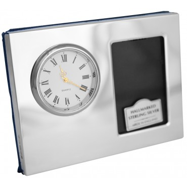 .925 Solid Sterling Silver Desk Photo Frame with Clock made in UK Photo size 5cm x 4cm or 2 inch x 1.5 inch