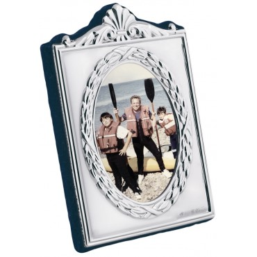 FR628 - Sterling silver Victorian style miniature photo frame with velvet back 4cm x 5 cm