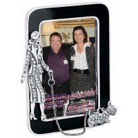 GT257   Miniature Photo Frame With Crystal Dog Walker Sterling Silver Ari D Norman