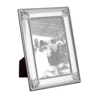 FR711   Shell And Bead Photo Frame With Wooden Back 13cm x 18cm Sterling Silver Ari D Norman