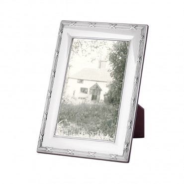 FR714   Ribbon And Reed Photo Frame With Wooden Back 10cm x 15cm Sterling Silver Ari D Norman