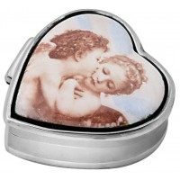 PB550   Ari D Norman Sterling Silver Cherub Picture Pill Box