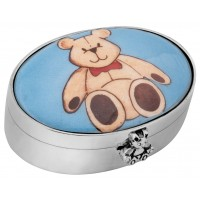 PB613   Ari D Norman Sterling Silver Teddy Bear Picture Pill Box