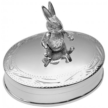 PB521   Ari D Norman Sterling Silver Pill Box with Moving Rabbit