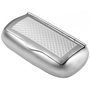 PB508   Ari D Norman Sterling Silver Engine Turned Pattern Pill Box / Snuffbox