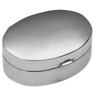 PB404   Ari D Norman Sterling Silver Small Plain Oval Hinged Pill Box