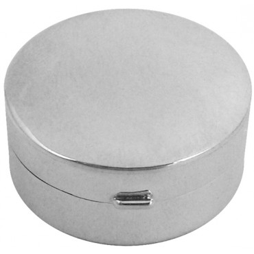 PB405   Ari D Norman Sterling Silver Small Plain Round Hinged Pill Box