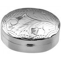 PB415   Ari D Norman Sterling Silver Medium Engraved Oval Hinged Pill Box