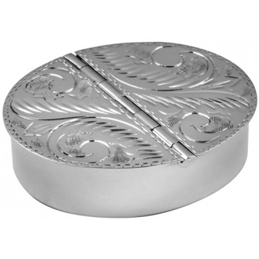 PB455   Ari D Norman Sterling Silver Two Compartment Engraved Oval Pill Box