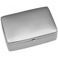 PB462   Ari D Norman Sterling Silver Large Plain Rectangular Hinged Pill Box