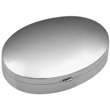 PB466    Ari D Norman Sterling Silver Large Plain Oval Pill Box