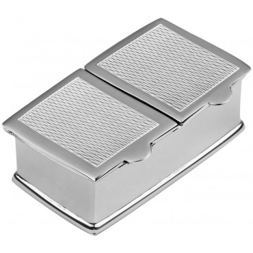 PB509    Ari D Norman Sterling Silver Two Compartment Engine Turned Pattern Rectangular Pill Box