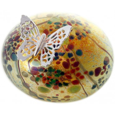 GT2207 – Sterling Silver Butterfly and Yellow Molten Glass Paperweight