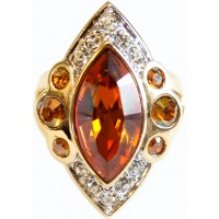 JRG10   Gold Plated Edwardian Style Ring With Austrian Crystals Jewelari of London