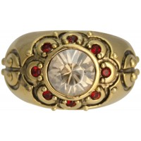 JRG12   Gold Plated Ring With Red and Clear Austrian Crystals Jewelari of London