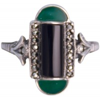 RG203   Marcasite Set Ring With Black Onyx and Green Agate Sterling Silver Ari D Norman