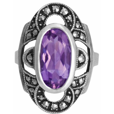 RG212   Ring With Marcasite and Amethyst Sterling Silver Ari D Norman