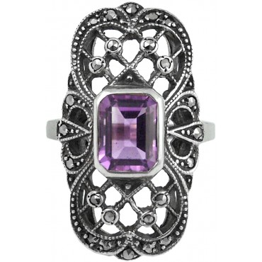 RG232   Ring with Marcasite and Amethyst Sterling Silver Ari D Norman