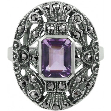 RG245   Ring with Marcasite and Amethyst Sterling Silver Ari D Norman