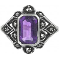 RG248   Ring with Marcasite and Amethyst Sterling Silver Ari D Norman