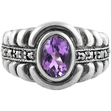 RG256   Ring with Marcasite and Amethyst Sterling Silver Ari D Norman
