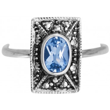 RG269   Ring With Marcasite and Genuine Synthetic Aquamarine Sterling Silver Ari D Norman