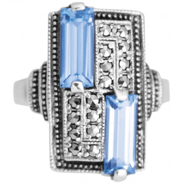 RG275 - Sterling Silver Ring With Marcasite and Genuine Synthetic Aquamarine