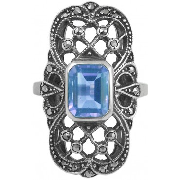 RG277   Ring with Marcasite and Genuine Synthetic Aquamarine Sterling Silver Ari D Norman