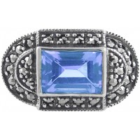 RG282   Ring with Marcasite and Genuine Synthetic Aquamarine Sterling Silver Ari D Norman